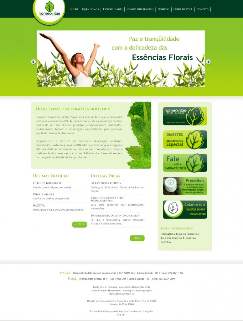 Site Homeovitae Homeopatia e Manipulação